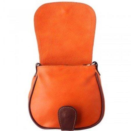 Crossbody leder schoudertas oranje bruine kleur