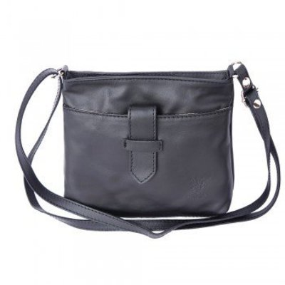 Crossbody tas van zacht kalfsleder zwart kleur
