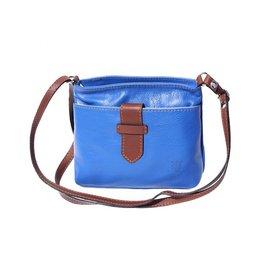 - Crossbody tas van zacht kalfsleder electric blauw bruin