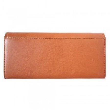 Zacht kalf leder portemonnee in cognac kleur