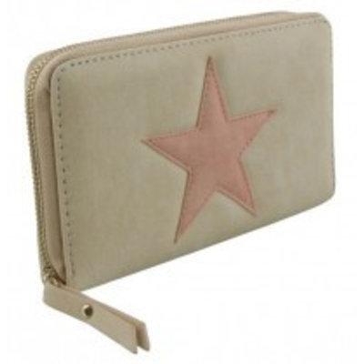 - Trendy portemonnee met ster gebroken wit met roze kleur