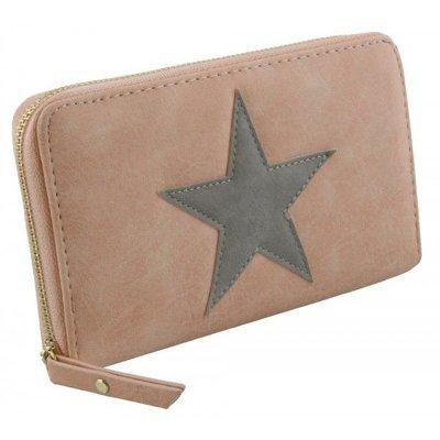 Trendy portemonnee met ster roze met grijs kleur