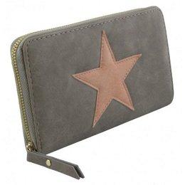 Trendy portemonnee met ster grijs met roze kleur