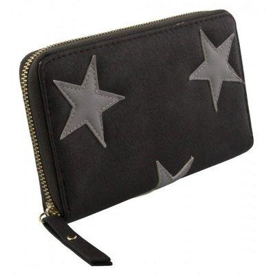 Trendy portemonnee met sterren grijs kleur