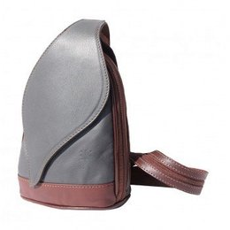 - Kleine Rugzak tas, met mooie blad vorm flap grijs met bruin kleur