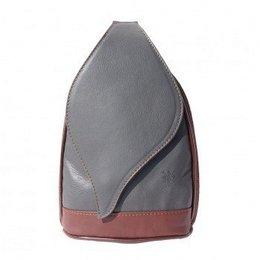 Grote Rugzak tas, met mooie blad vorm flap grijs met bruin kleur