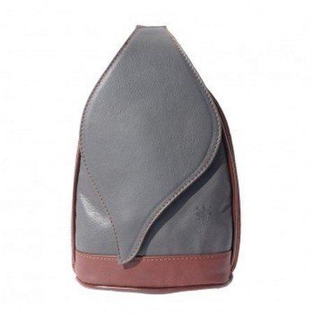 Leren Rugzak grote model met mooie blad vorm flap grijs met bruin kleur