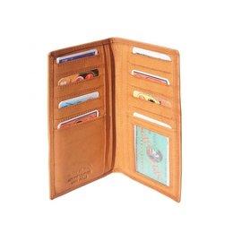 Leder portemonnee zacht kalfsleer cognac, naturel bruin kleur