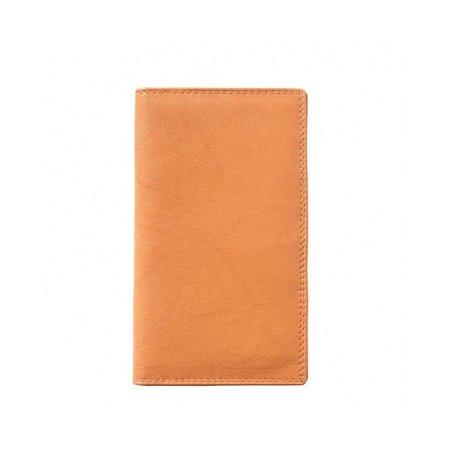 Dubbelgevouwen Leder portemonnee zacht kalfsleer naturel cognac kleur