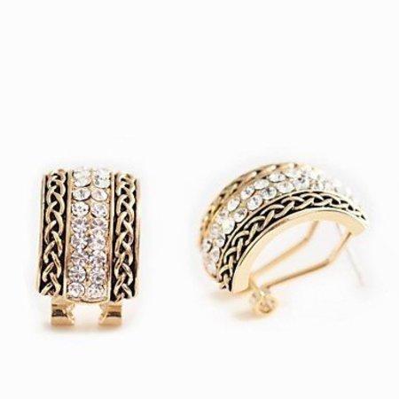 Oorknopjes,oorbellen verguld, gouden kleur met dubbel rij kristalen