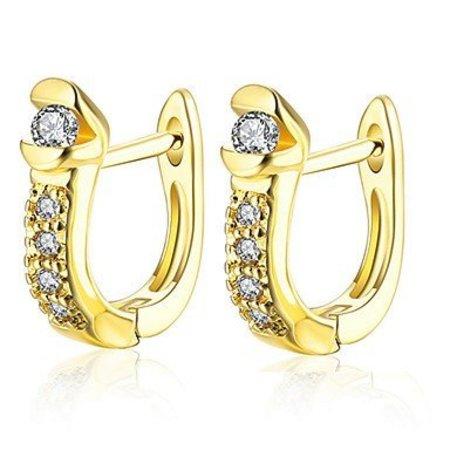 Oorknopjes Ring oorbellen versierd met Kubieke Zirkonia Verguld Goud