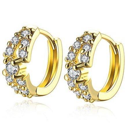 Oorknopjes Ring oorbellen versierd met 2 rijen Kubieke Zirkonia Verguld Goud