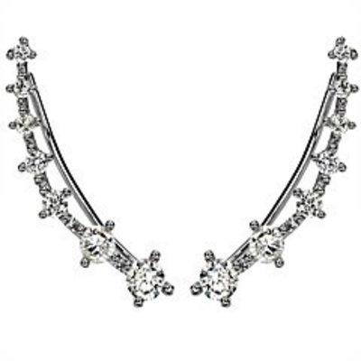 Oor manchetten Hypoallergeen met diamant imitatie zilver kleur
