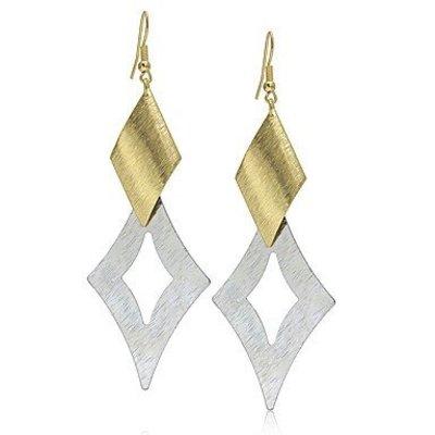 Druppel oorbellen geometrische bladvorm goud met zilver kleur