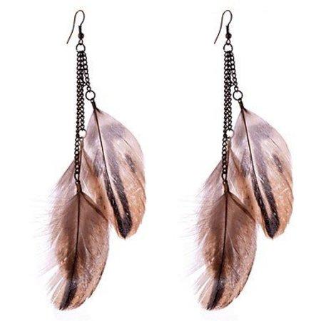 Druppel oorbellen met mooie bruine kleuren veren, metalen ketting