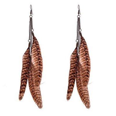 Druppel oorbellen met mooie tijgerprint veren