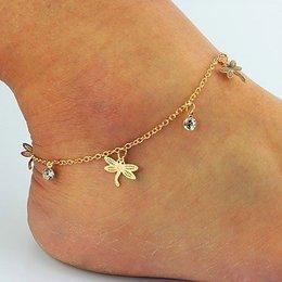 Enkel sieraden, enkel armband slot gouden kleur met kristalen