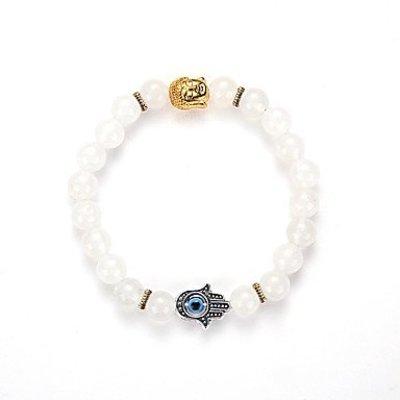 Strand armband, Yoga, wit kleur kralen met gouden kleur