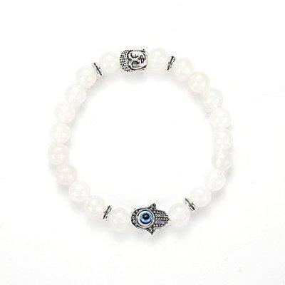 Strand armband, Yoga, wit kleur kralen met zilver kleur