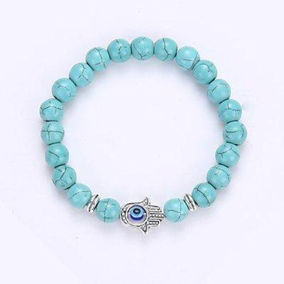 Strand armband, Yoga, Turquoise kleur kralen met zilver kleur