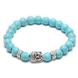 Strand armband, Yoga, Turquoise kleur kralen met zilver kleur - Boeddha