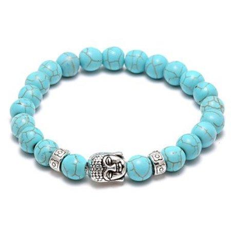 Strand armband, Yoga, met turquoise kleur kralen met zilver kleur - Boeddha