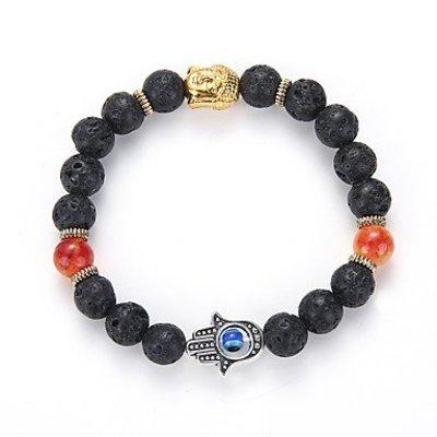 Strand armband, Yoga, zwart kleur kralen met gouden kleur