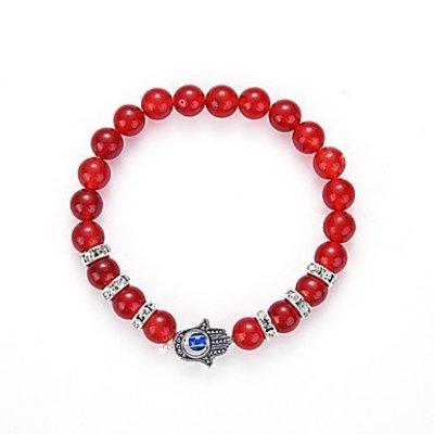 Strand armband, Yoga, rood kleur kralen met zilver kleur