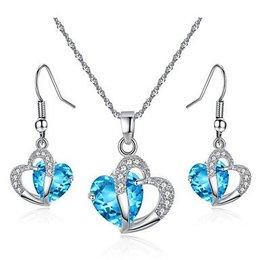 Hartvorm Sieraden set Kubieke Zirkonia Amethist kristalen blauw wit