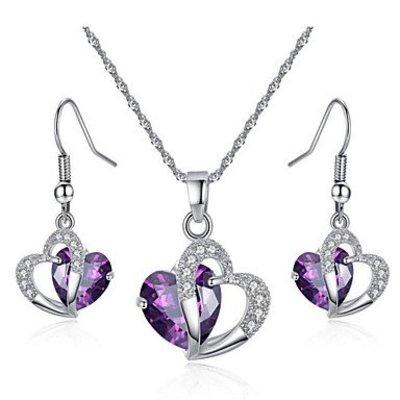 Sieraden set hartvorm Kubieke Zirkonia Amethist kristalen paars wit
