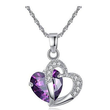 Sieraden set Kubieke Zirkonia Amethist kristalen paars met wit hartvorm