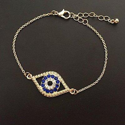 Gouden kleur dames armband met blauw