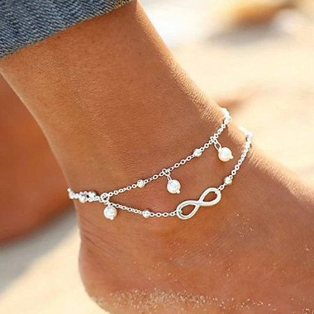 Enkel sieraden, enkel armband slot zilver kleur versierd met Oneindigheid teken parels