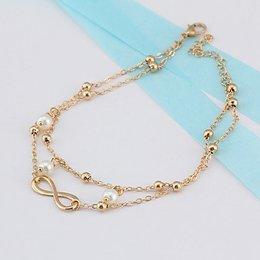 Enkel sieraden, enkel armband slot gouden kleur met pareltjes bohemien