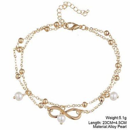 Enkel sieraden gouden kleur versierd met Oneindigheid teken imitatie parels