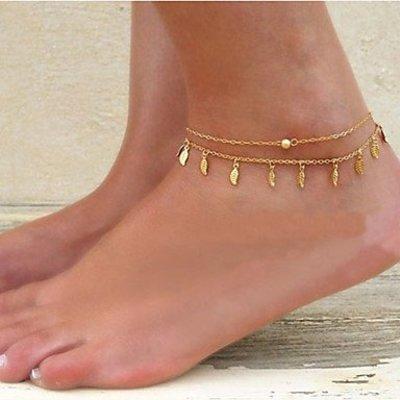 Enkel sieraden, enkel armband gouden kleur met pareltje bohemien