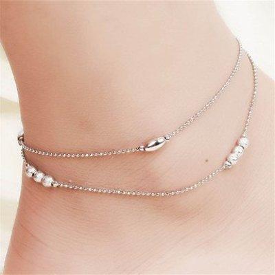 Enkel sieraden, enkel armband verzilverd koper met 2 rijen