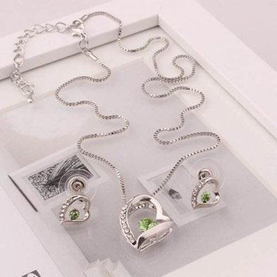 Ketting groen kristal hart hangertje oorbellen in hart vorm zilver kleur