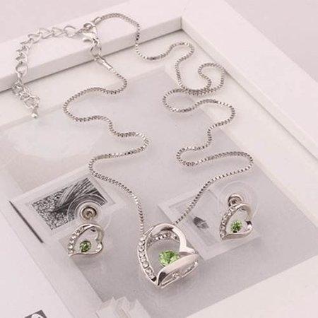 Ketting met hangertje oorbellen in hart vorm groene kristal hart zilver kleur