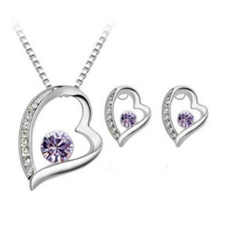 Ketting met hangertje oorbellen in hart vorm paarse kristal hart zilver kleur