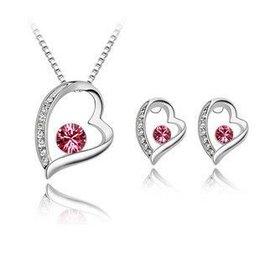 Ketting roze kristal hart hangertje oorbellen in hart vorm zilver kleur