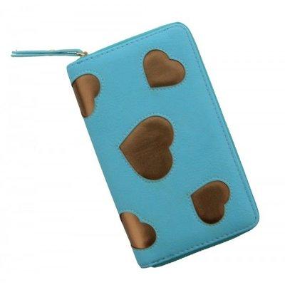 Mooie portemonnee blauw met gouden hartjes