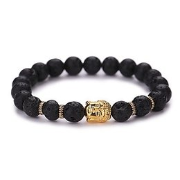Strand armband vintage geometrisch zwart met goud kleur Yoga