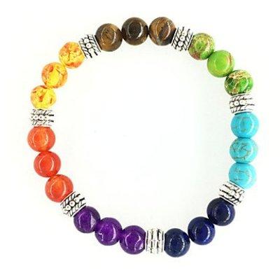 Strand armbanden voor dames en heren chakra regenboog kleuren