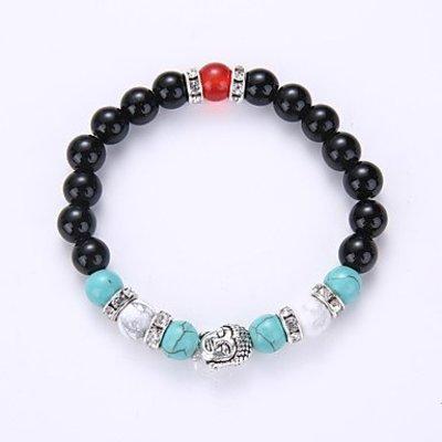 Strand armband zwart met wit rood blauw zilver kleur Yoga