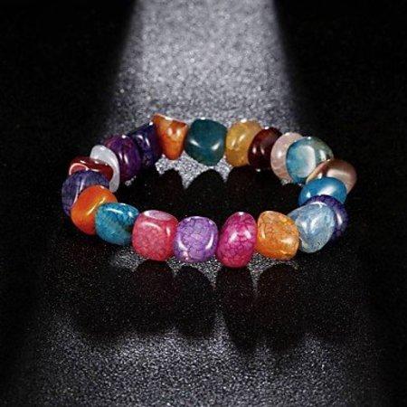 Strand armbanden voor dames en meisjes regenboog natuur stenen