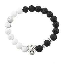 Strand armband zwart wit voor dames Agaat stenen