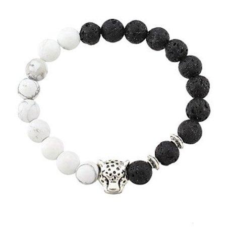 Strand armbanden voor dames zwart wit kleuren dierenvorm agaat stenen