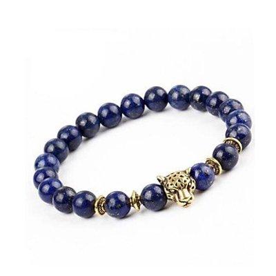 Strand armband blauw met goud voor dames en heren Agaat stenen