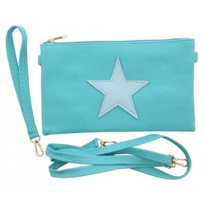 Trendy schouder tasje met ster voor dames en meisjes blauw